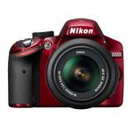 Nikon D3200 24.2 MP CMOS Camera Red with 18-55mm  and  55-300mm Lens-Black