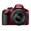 Nikon D3200 24.2 MP CMOS Digital Camera Red with 18-55mm and 85mm Lens-Black