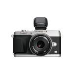 Olympus E-P5 Mirrorless Camera (Silver) w/ VF-4  and  17mm Lens (Black)