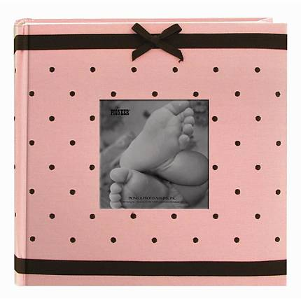 Pioneer 4x6 Baby Embroidered Frame Fabric Album (2-up) (200) (Pink)