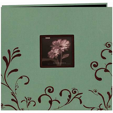 Pioneer Embroidered Scroll Frame Photo Album (200 4x6 photos) - Aqua/Brown