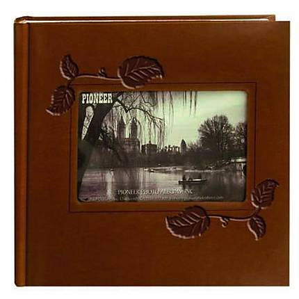 Pioneer Embossed Leatherette Frame Photo Album (200 4x6 photos) - Brown Ivy