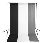 Savage Gray, Black  and  White Muslin Backdrops with Background Support Stand
