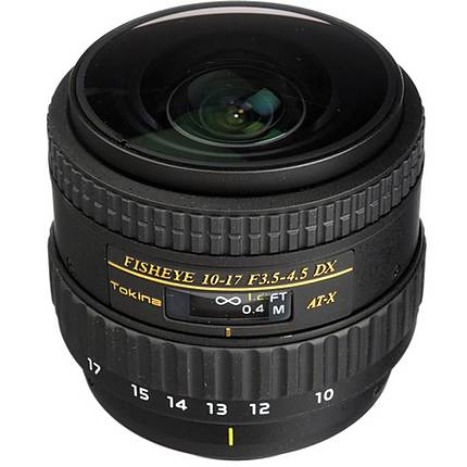 Tokina AF 10-17mm f/3.5-4.5 DX NH Fisheye Lens for Nikon - Black (No Hood)