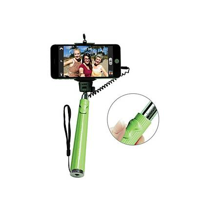 looq dg selfie stick for android and ios devices green carry and support. Black Bedroom Furniture Sets. Home Design Ideas